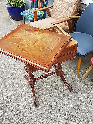 Gründerzeit era Sewing table with folding Platter Game table Sewing cabinet