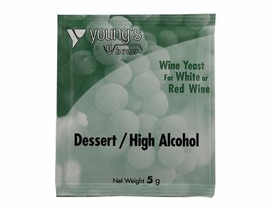 Youngs Dessert / High Alcohol Wine Yeast Sachet 5g Treats 23 Litres Home Brew