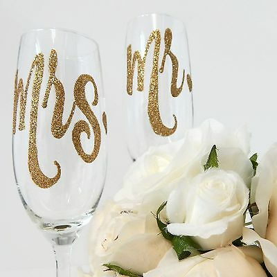 Mr and Mrs, Mr and Mr, Mrs and Mrs Champagne Toasting Flutes Wedding Glasses