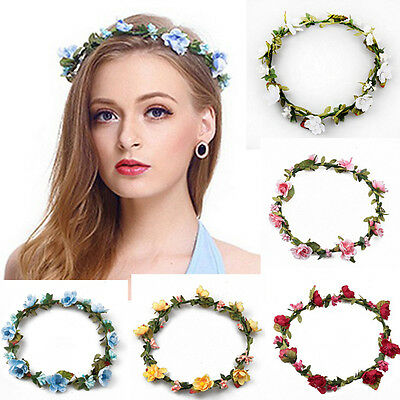 Girl Crown Floral Rose Flower Headband Hairband Wedding Hair Garland Headpiece e