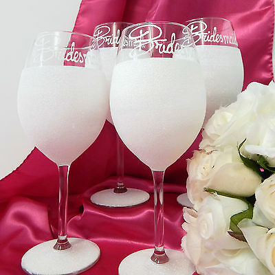 Set of 4 Wedding Glasses For Bridesmaids Gifts Personalised Toasting Flutes Rio