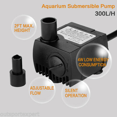 300 L/H Submersible Aquarium Water Pump Fish Tank Spout Pond Fountain Waterfall