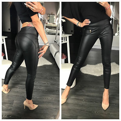 Women Push Up Leggings Black Stretchy Eco Leather Trousers 6 8 10 12