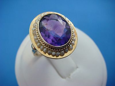 !antique 14K Yellow Gold Amethyst And Seed Pearls Ladies Ring, 4.6 Grams