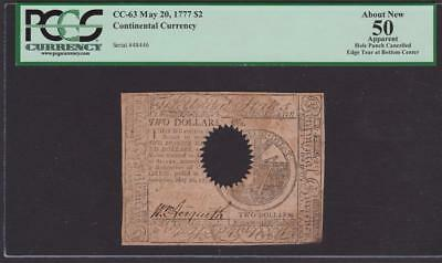 CC-63 {very rare} * PCGS AU50 * $2.00 May 20, 1777 Continental Colonial Currency
