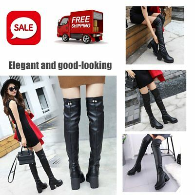 Women Long Boots PU Leather Over Knee Boots Women Chunky Heel Riding Boots GT