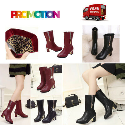 Women Boots Female Mid-heel Boots Thickened Velvet Snow Boots For Winter GT
