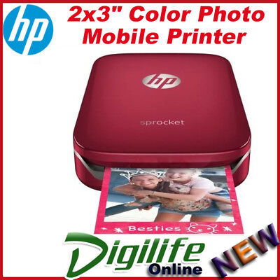HP Sprocket Photo Printer for Mobile Smartphone Rechargeable Battery Z3Z91A RED
