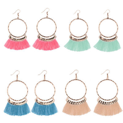 Boho Bohemia Tassels Round Drop Dangle Ethnic Cotton Hook Fashion Women Earrings
