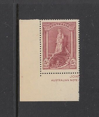 1938 Robes, Paper 5/- Claret SG 176, shade Dull Lake BW 212A, well centred MUH.