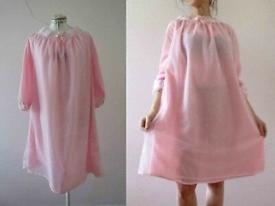 60s Pink Nylon Nightie Nightgown Small Buy 3+ items for FREE Post