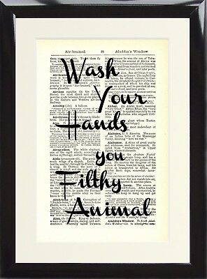 Dictionary Art Print Wash your hands you filthy animal Funny Toilet Loo Poster