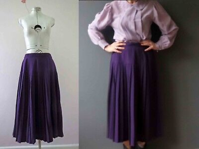 80s Purple Knife Pleated Midi Skirt with Yoke Sm-Med Buy 3+items for FREE Postag