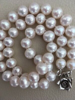 "18"" White Cultured Pearl Necklace Real Silver Rose Hook Clasp Large 9-10mmPearls"