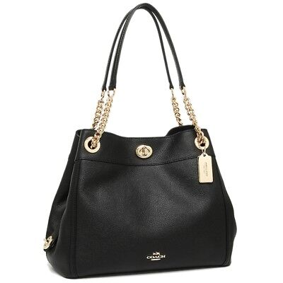 New Coach Turnlock Edie Pebble Leather Black Shoulder Bag 36855-LIBLK