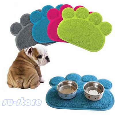 Paw Shape PVC Placemat Pet Cat Dog Food Water Dish Bowl  FSoft Mat Tool Supplies