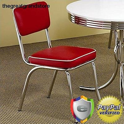 Red Retro Chairs Set of 2 50's Chrome Coke Chair with Cushions Kitchen Dining