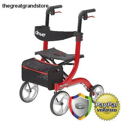 Red Rollator Rolling Walker Compact Adj Height Folding Seat Pouch Included Cable