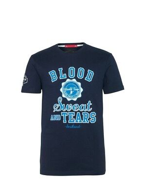 (Large, Z73 Navy) - Front Up Rugby Men's Blood Sweat and Tears T-Shirt
