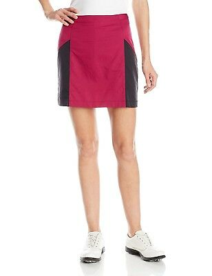 (10, Tribe Berry/Black) - adidas Golf Women's Blocked Woven Skort. Free Delivery