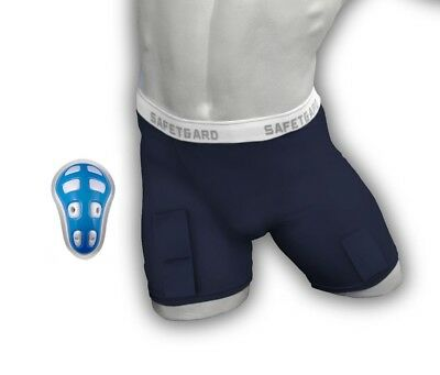 (Large, Navy Blue) - SafeTGard Mens Hockey Compression Short with Cage Cup
