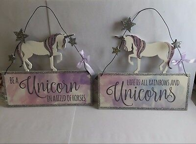 Lilac Unicorn Wooden Plaque With Silver glitter & Stars Wire Hung Bedroom Nursey
