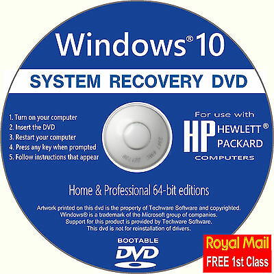 HP Windows 10 Recovery Repair Restore install Boot CD Disc Full Install *DVD*