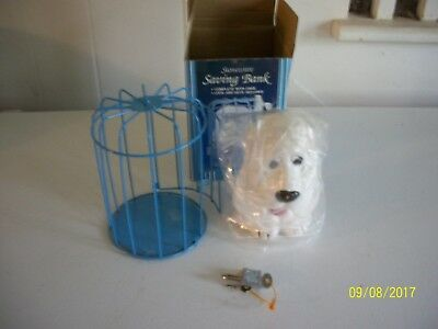 Vintage Caged Dog Ceramic Coin Bank, with 2  Keys Colony Crafted