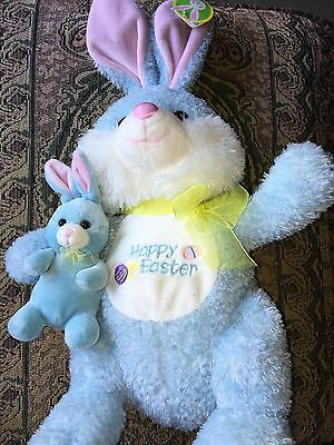 Soft Cuddly Baby Blue Mom Baby Bunny Easter Bunny Plush Gift