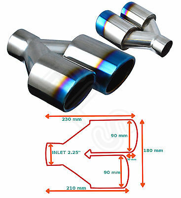Pair Of Burn Tip Universal Exhaust Tailpipe 2.25 Inch Inlet Gw-Et095-B
