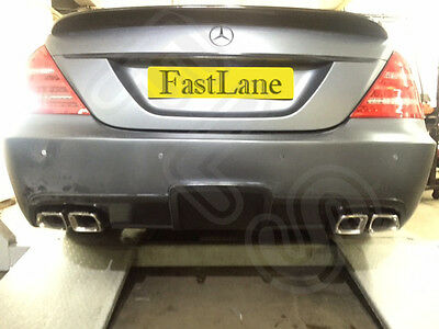 Mercedes S Stainless Steel Exhaust Rear Dual System & AMG Style Tail Pipes MS06