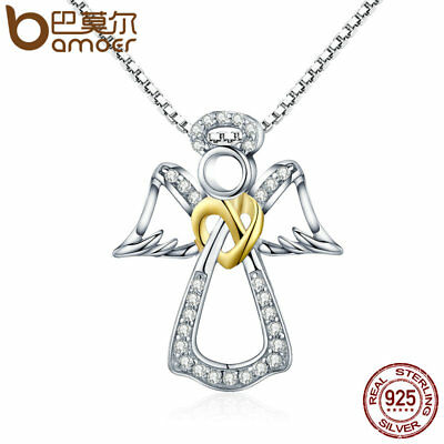 Bamoer Authentic .925 silver Necklace With CZ Guardian Angel For Ladies Jewelry