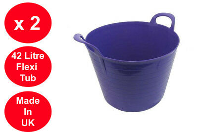 2 x ORANGE 42L 42 Litre Large Flexi Tub Garden Flexible Storage Laundry Trendy