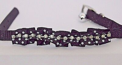 CAT KITTEN Fancy Ribbon DIAMANTE Cat Collar With or Without ENGRAVED PET ID TAG