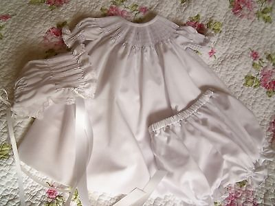 Ready To Smock White Baby Bishop Dress, Bloomers, And Bonnet Size 6 Months