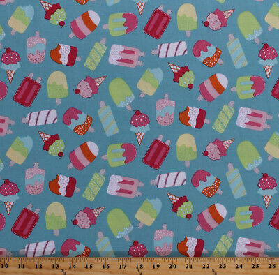 Cotton Ice Cream Cone Popsicles Summer Food Blue Cotton Fabric Print BTY D372.08