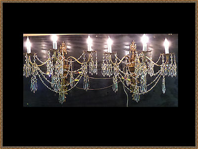 Vintage Antique Pair Large European Wall Sconces Superb Crystals Gorgeous LQQK!