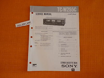 SERVICE MANUAL SONY TC W255C english Service Anleitung