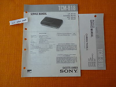 SERVICE MANUAL SONY TCM 818 english Service Anleitung