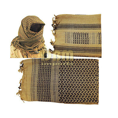 Military Shemagh Tactical Arab Desert Keffiyeh Scarf Head Wrap Tan And Black
