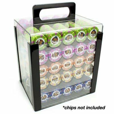 Clear Acrylic Poker Carrier Chip Holder Racks Plastic Casino Case Tray 1000 NEW