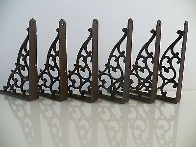 Lot/Set Of 6 Antique-Style Cast Iron SMALL 5 1/4' X 7' SHELF BRACKETS Hangers