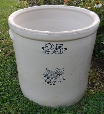 Western brand 25 gallon stoneware crock maple leaf vintage very good condition!