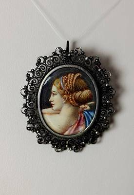 "Beautiful Vtg 800 Silver Filigree Woman's Portrait Frame Pin/Pendant 1.5"" - 5661"
