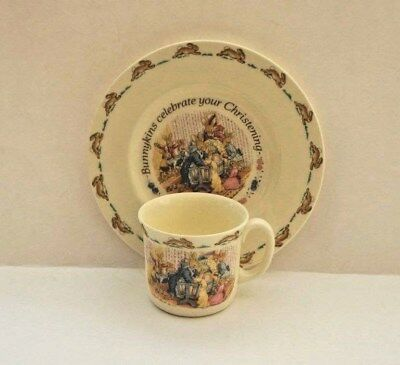 Royal Doulton Bunnykins Christening Set ~  Plate & Mug ~ Fine Bone China Nwob