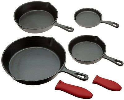 Cast Iron Skillets, Set Of 4 (Pre-seasoned) 10 Inch - 5.1 Inch, Including Large