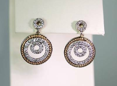 14K 2-Tone Gold Diamond Circle Earrings w/ Yellow Gold Rope Accent - 3914
