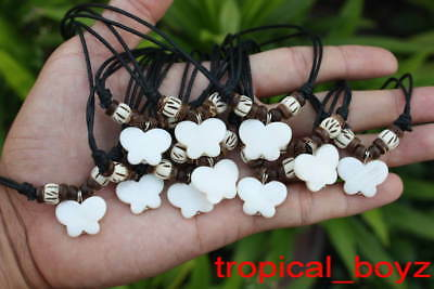 10 Handmade White Butterfly Seashell Coconut White Bone Necklaces Wholesale
