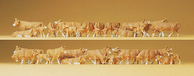 HO Scale Animals - Pack of 30 Cows - Brown and White