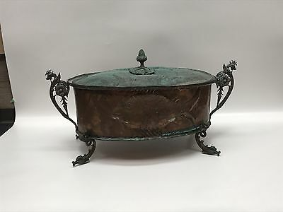 Antique 18Th Century Footed Copper Fish Poacher Pan